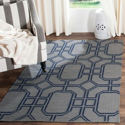 Dhurries Hand-Woven Wool Gray/Blue Area Rug Rug Size: Rectangle 4 x 6