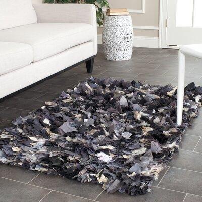 Shag Black & Gray Area Rug Rug Size: 2'3