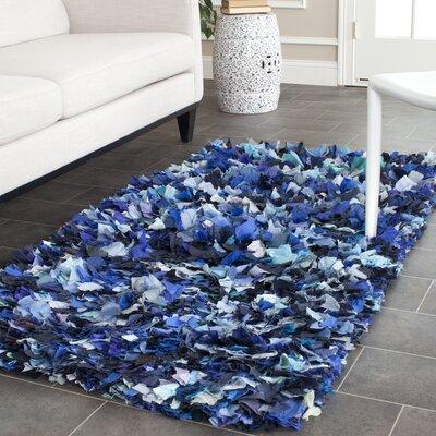 Shag Blue & Black Area Rug Rug Size: 3' x 5'
