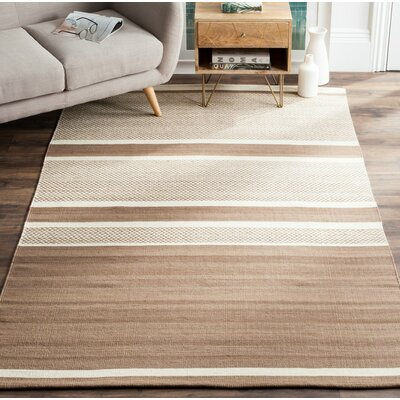 Sojourn Brown / Ivory Striped Rug Rug Size: 9 x 12