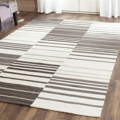Kilim Brown / Ivory Striped Rug Rug Size: 9 x 12