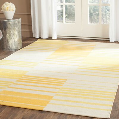 Kilim Gold & Ivory Striped Area Rug Rug Size: Rectangle 9 x 12