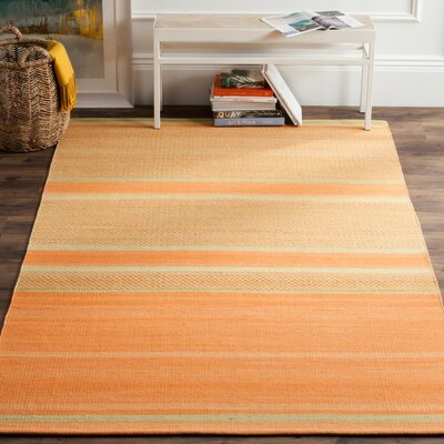 Sojourn Orange / Lime Striped Rug Rug Size: 9 x 12