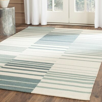 Kilim Blue & Ivory Striped Area Rug Rug Size: 5 x 8