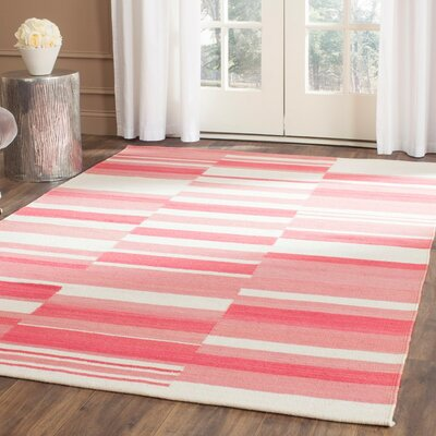 Kilim Pink / Ivory Striped Rug Rug Size: Rectangle 9 x 12