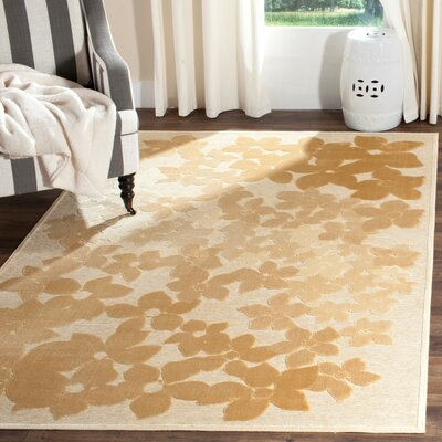 Flower Field Beige/Gray Area Rug Rug Size: 4 x 57
