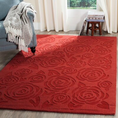Block Rose Hand-Loomed Red Vermillon Area Rug Rug Size: Round 4'