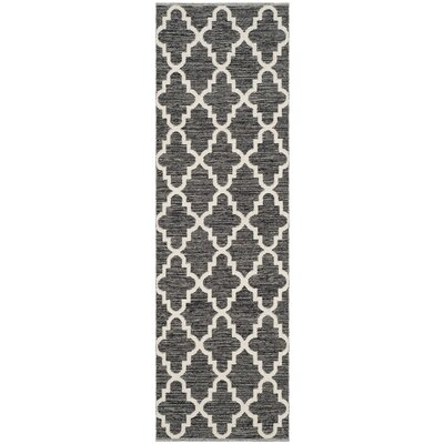 Valley Hand-Woven Black/Ivory Area Rug Rug Size: Runner 23 x 11