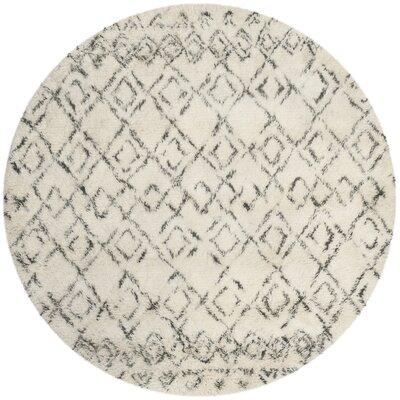 Gholston White/Grey Area Rug Rug Size: Round 6