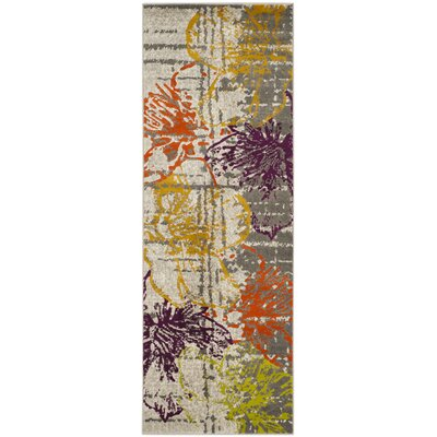Ivory/Gray Area Rug Rug Size: Runner 24 x 67