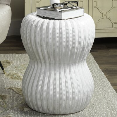Hour Glass Garden Stool Finish: White