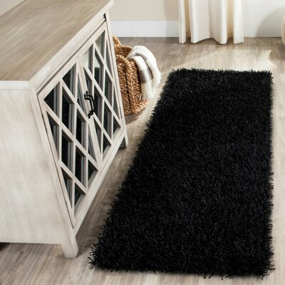 Paris Handmade Black Area Rug Rug Size: Runner 23 x 6