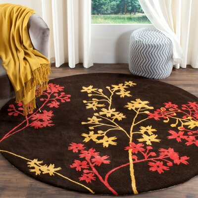 Soho Brown Area Rug Rug Size: Round 8