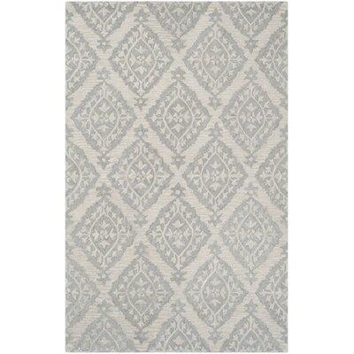Micro-Loop Hand-Tufted Gray Area Rug Rug Size: 2'6