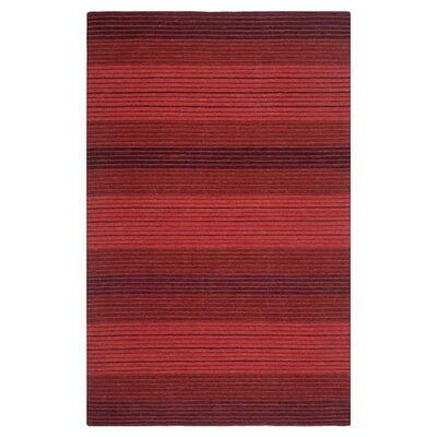 Marbella Striped Contemporary Red Area Rug