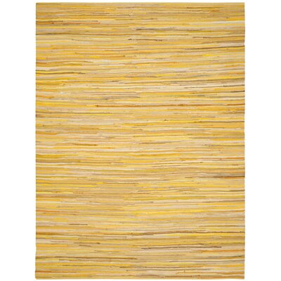 Hand-Woven Yellow Area Rug Rug Size: Round 6