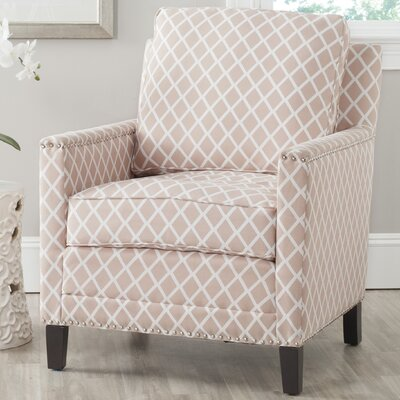 Coppola Armchair Upholstery: Peach Pink/White