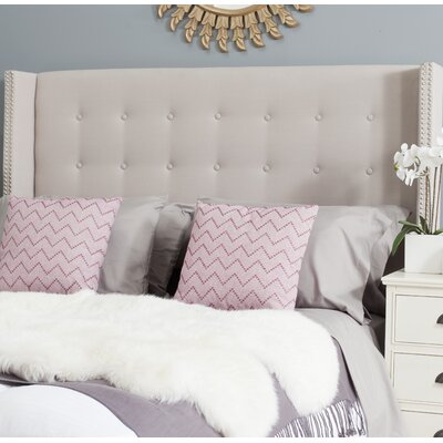 Keegan Upholstered Wingback Headboard Size: Full, Upholstery: Parchment