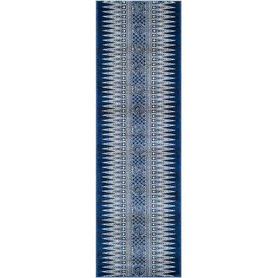 Evoke Royal/Ivory Area Rug Rug Size: Runner 2'2