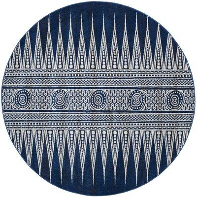 Evoke Royal/Ivory Area Rug Rug Size: Round 6'7
