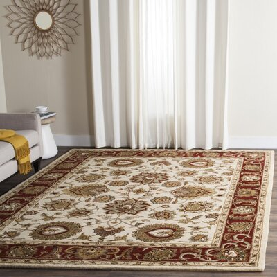 Royalty Hand-Tufted Ivory / Red Area Rug