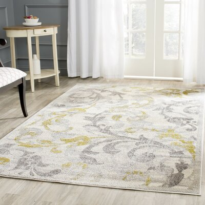 Maritza Floral Ivory/Light Gray Indoor/Outdoor Area Rug Rug Size: Round 5