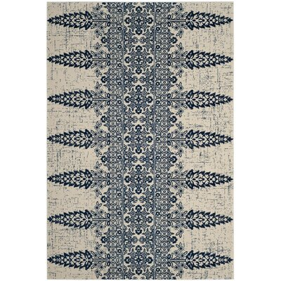 Elson Ivory/Royal Area Rug Rug Size: Rectangle 4 x 6