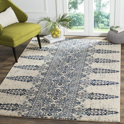 Evoke Ivory/Royal Area Rug Rug Size: Rectangle 9 x 12