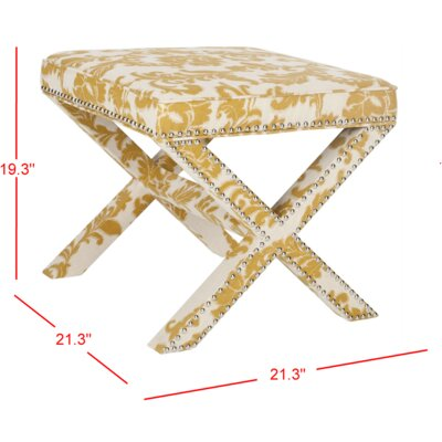 Pamela Ottoman Upholstery: Maize and Beige Print