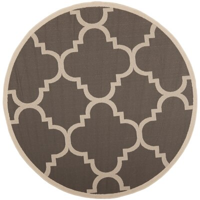 Octavius Gray/Beige Indoor/Outdoor Area Rug Rug Size: Round 53