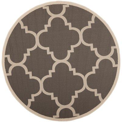 Octavius Gray/Beige Indoor/Outdoor Area Rug Rug Size: Round 4