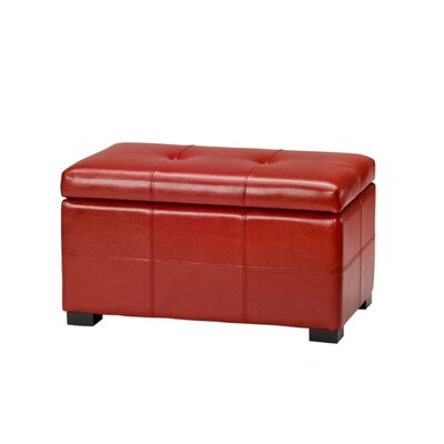 Maiden Leather Storage Ottoman Upholstery: Red