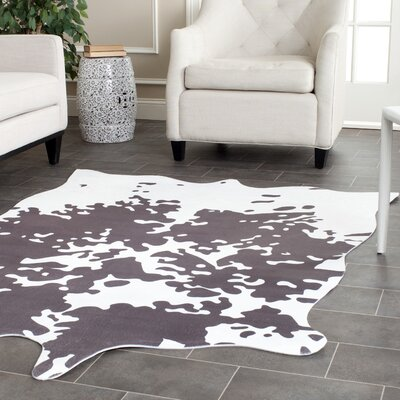 Faux Hide Hand-Tufted Gray/White Area Rug Rug Size: 5 x 66