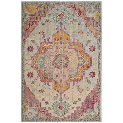 Floressa Light Blue/Fuchsia Area Rug Rug Size: Rectangle 5 x 8