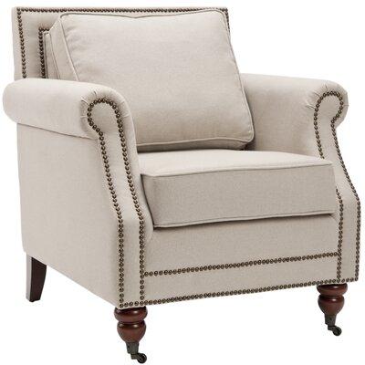 Bolt Armchair Upholstery: Beige, Nailhead Detail: Brass