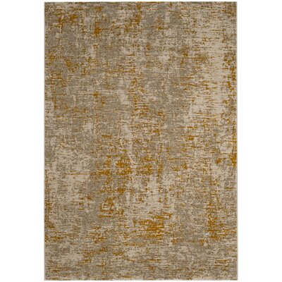 Sorrentino Gray/Gold Area Rug Rug Size: Rectangle 6 x 9