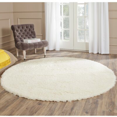 Flokati Hand-Tufted Wool Ivory Area Rug Rug Size: Round 6