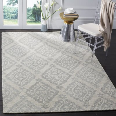 Micro-Loop Hand-Tufted Gray Area Rug Rug Size: 4' x 6'