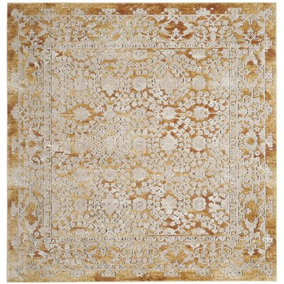 Palermo Gold/Beige Area Rug Rug Size: Square 6'7