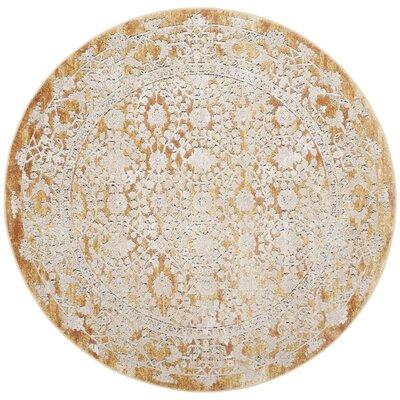 Palermo Gold/Beige Area Rug Rug Size: Round 6'7