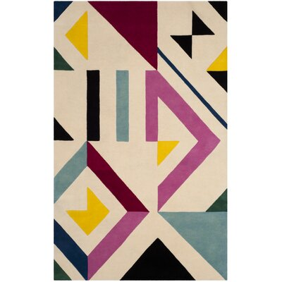 Fifth Avenue Hand-Tufted Ivory/Multi-Colored Area Rug Rug Size: 5' x 8'