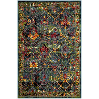 Cherokee Blue/Red Area Rug Rug Size: 2'3