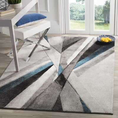 Anne Abstract Gray/Teal Area Rug Rug Size: Rectangle 53 x 76
