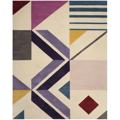 Fifth Avenue Hand-Tufted Ivory/Purple Area Rug Rug Size: 8' x 10'