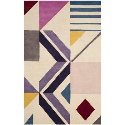 Fifth Avenue Hand-Tufted Ivory/Purple Area Rug Rug Size: 5' x 8'