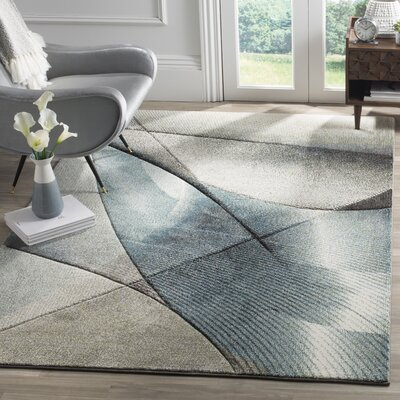 Hollywood Gray/Teal Area Rug Rug Size: 2'2