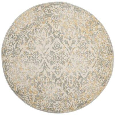 Evoke Ivory/Gray Area Rug Rug Size: Round 5'1