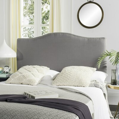 Jeneve Upholstered Panel Headboard Nailhead Finish: Silver, Upholstery: Taupe, Size: Queen