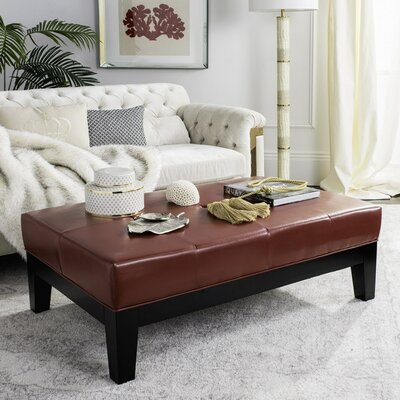 Leather Ottoman Upholstery : Red