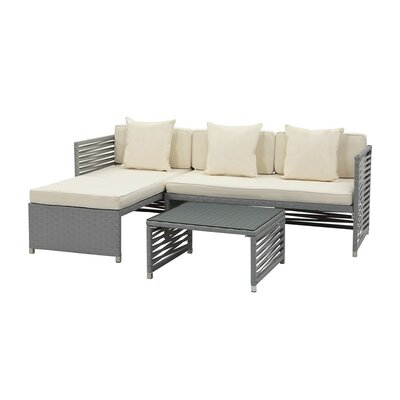 4 Piece Breanna Patio Group Set with Cushion Finish: White, Fabric: Navy